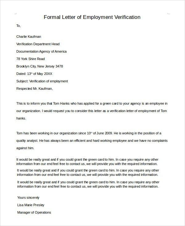 Employment Verification Letter For Green Card | The Letter Sample
