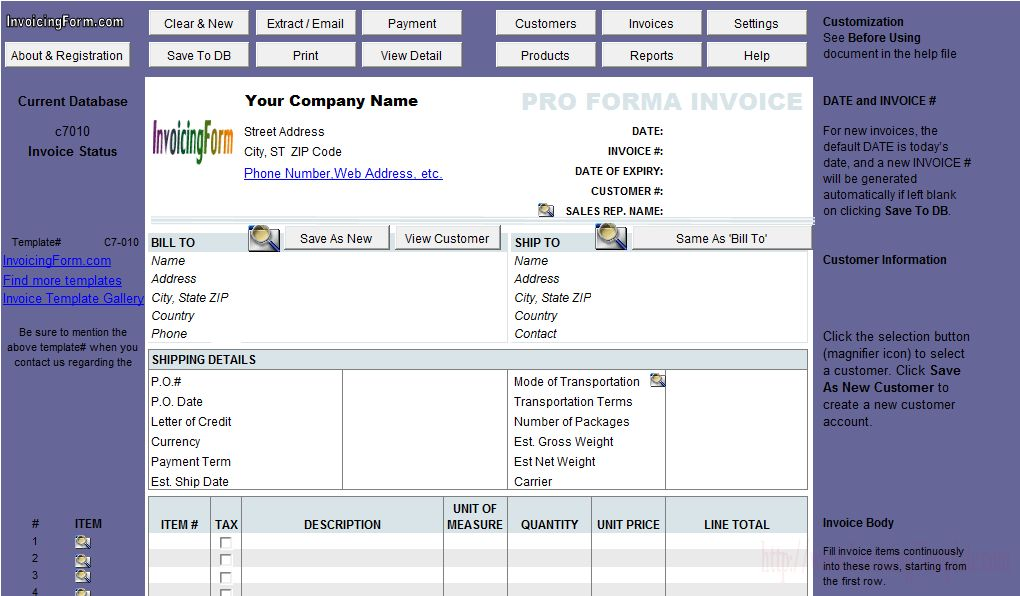 Proforma Invoice Format