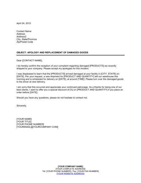 Apology and Replacement of Damaged Goods - Template & Sample Form ...