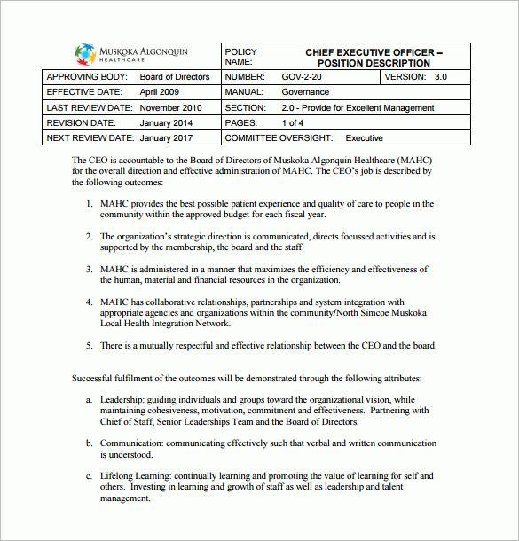 9+ Chief Executive Officer Job Description Templates – Free Sample ...