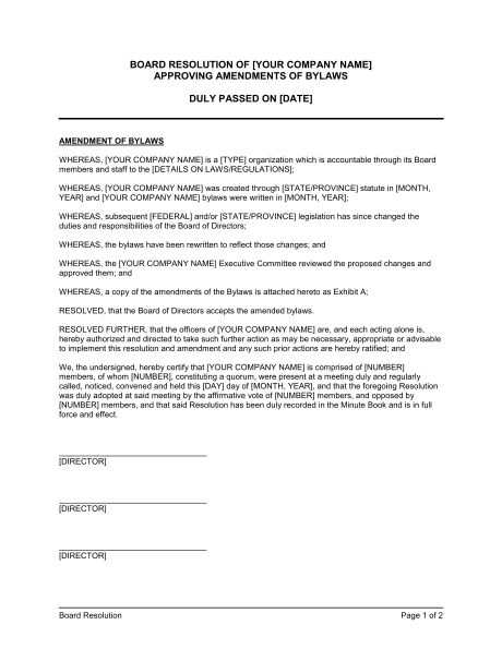 Board Resolution Approving Amendments of Bylaws - Template ...