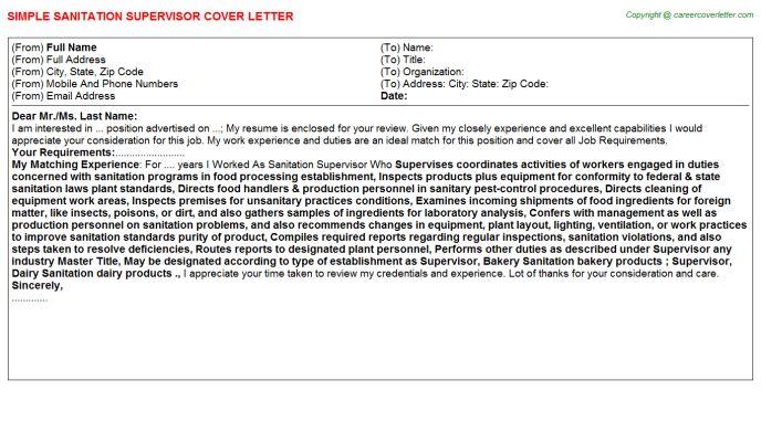 Sanitation Supervisor Cover Letter