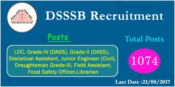 "1074"" DSSSB Recruitment 2017 