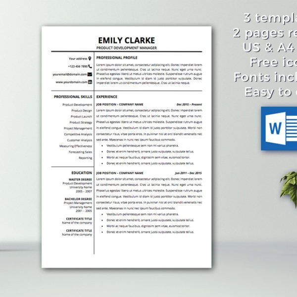 Modern Resume Template Instant Download | CV Template ...