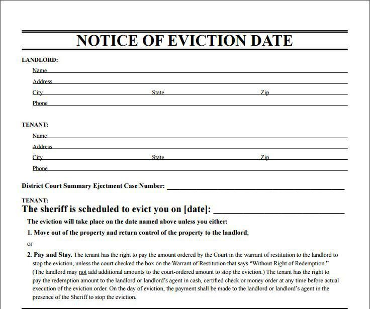 10 Eviction Notice Template Examples | Templates Assistant  Blank Eviction Notice Form
