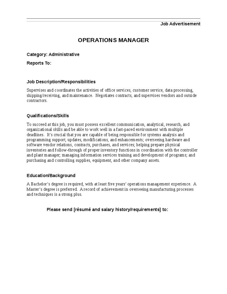 plant operations manager job description example. resume for an ...