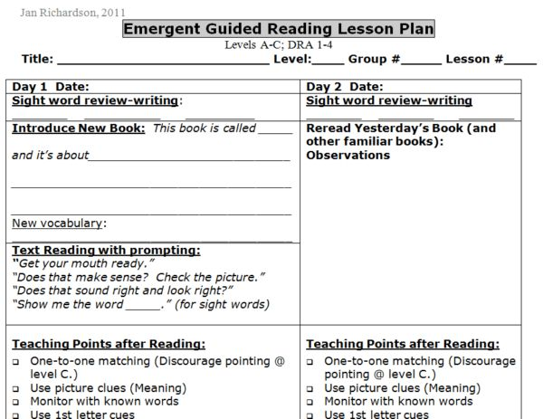 Guided Reading Templates for Emergent, Early, Transitional, and ...
