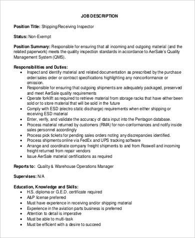 Shipping and Receiving Job Description Sample - 9+ Examples in ...