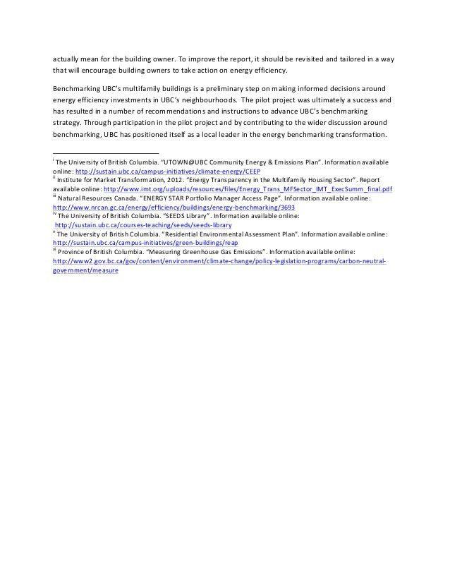 Executive Summary - Building Energy Benchmarking for UBC MURBs