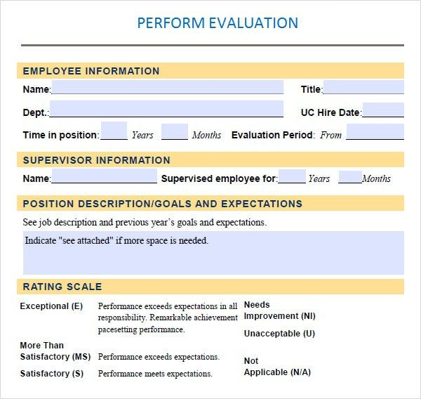 Performance Evaluation - 9+ Download Free Documents in PDF, Word