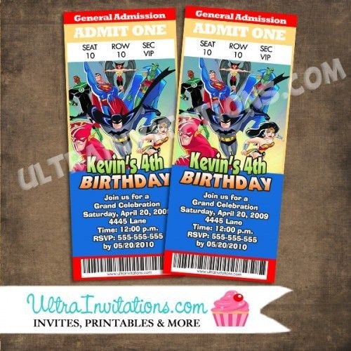 Superhero Ticket Invitations Batman Birthday Invites
