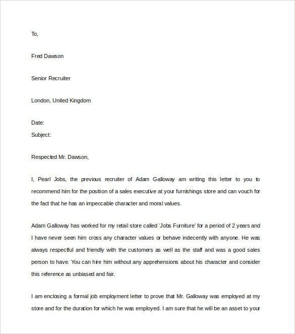 Character Reference Letter | Template Design