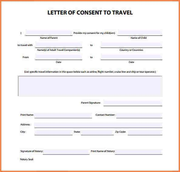 5+ notarized letter template for child travel | Adjustment Letter