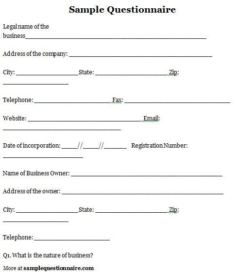 Questionnaire Sample. Sample Survey Questionnaire Sample-Survey ...