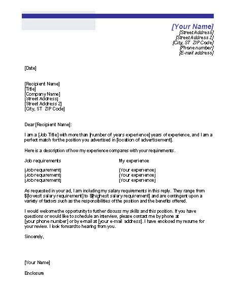 Cover Letter Sample Cover Letter With Salary Requirements If You ...