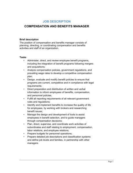 Compensation and Benefits Manager Job Description - Template ...