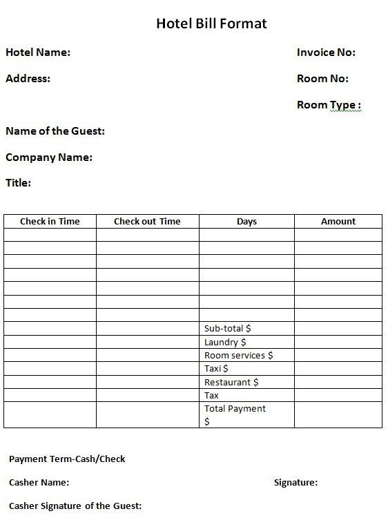 Download Hotel Invoice Format Word Template | rabitah.net
