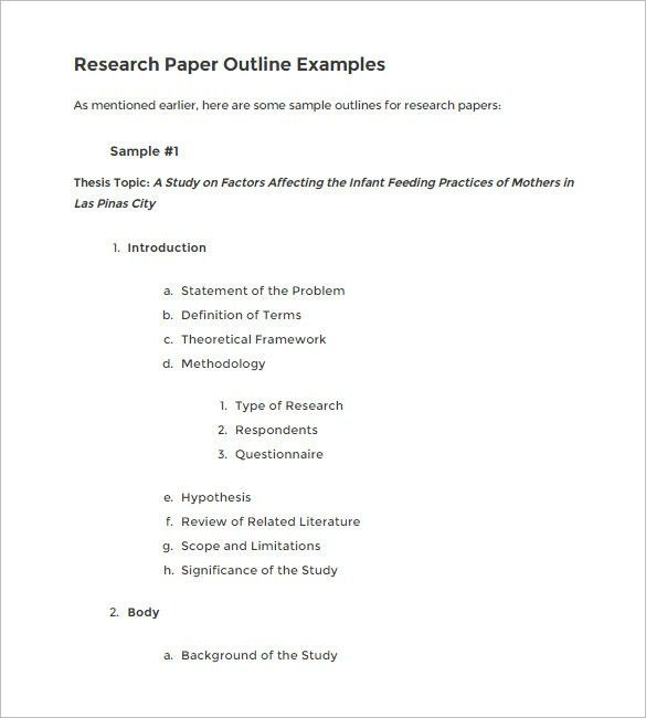 5+ Research Outline Templates – Free Word, PDF Documents Download ...