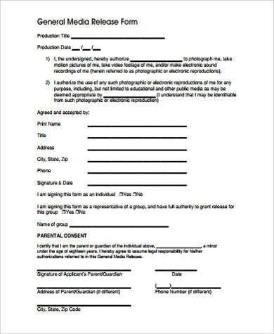 Sample Media Release Form   10+ Examples In Word, PDF