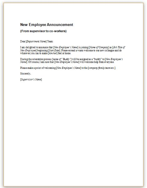New Hire Announcement Sample Sample Letter Of Announcement Of