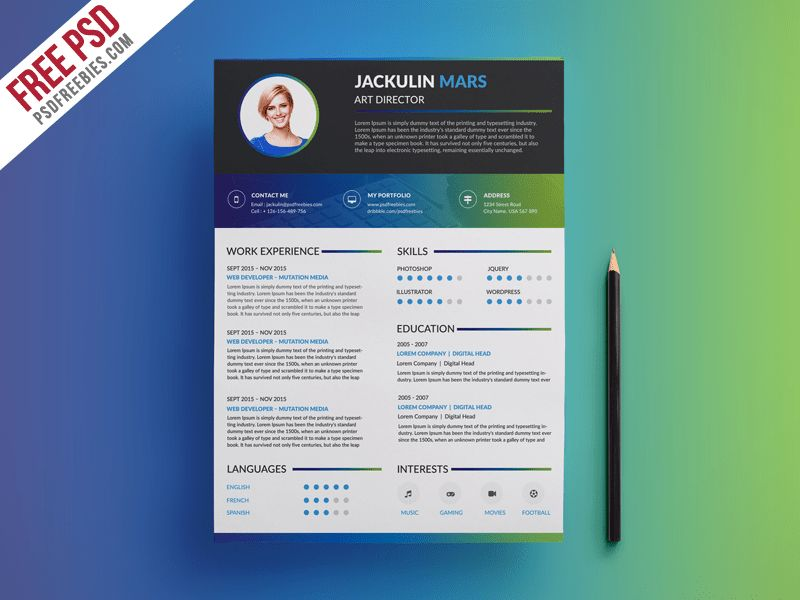 Creative Resume Template Free PSD Download - Download PSD
