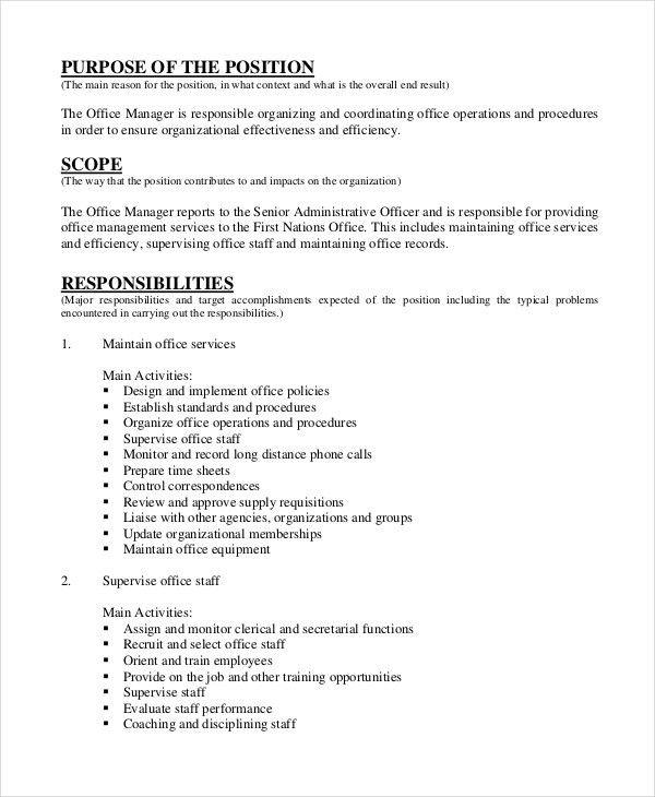 Manager Job Description - 9+ Free PDF, Word Documents Download ...