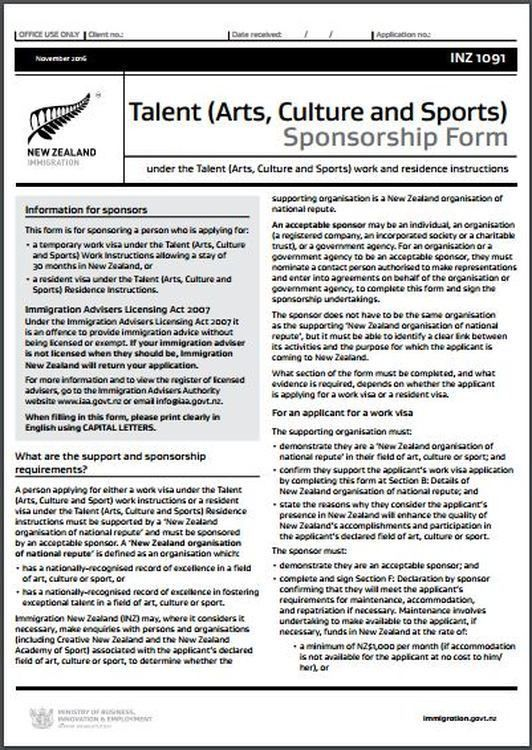 INZ1091 Talent (Arts, Culture and Sports) Sponsorship Form - All ...