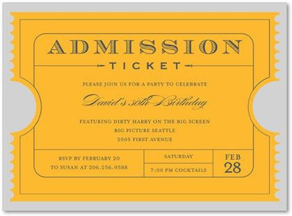 Yellow-Gold Admission Ticket Invitations MyExpression, 23971