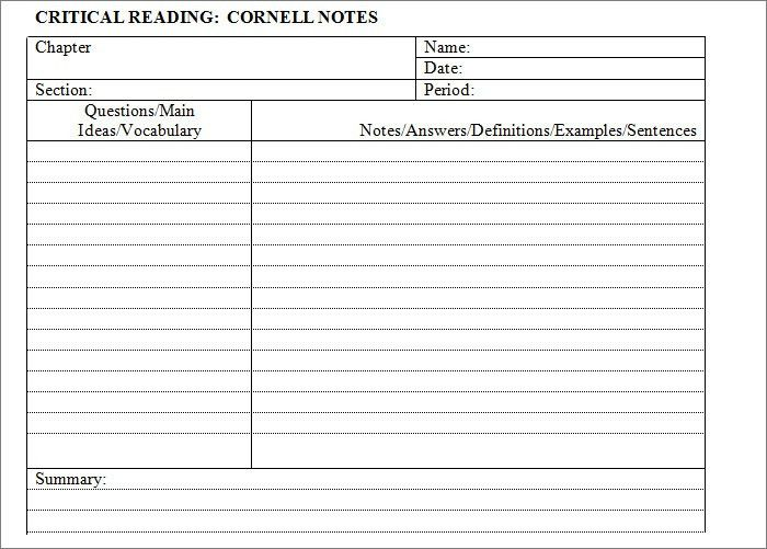 Cornell Notes Template - 51+ Free Word, PDF Format Download | Free ...
