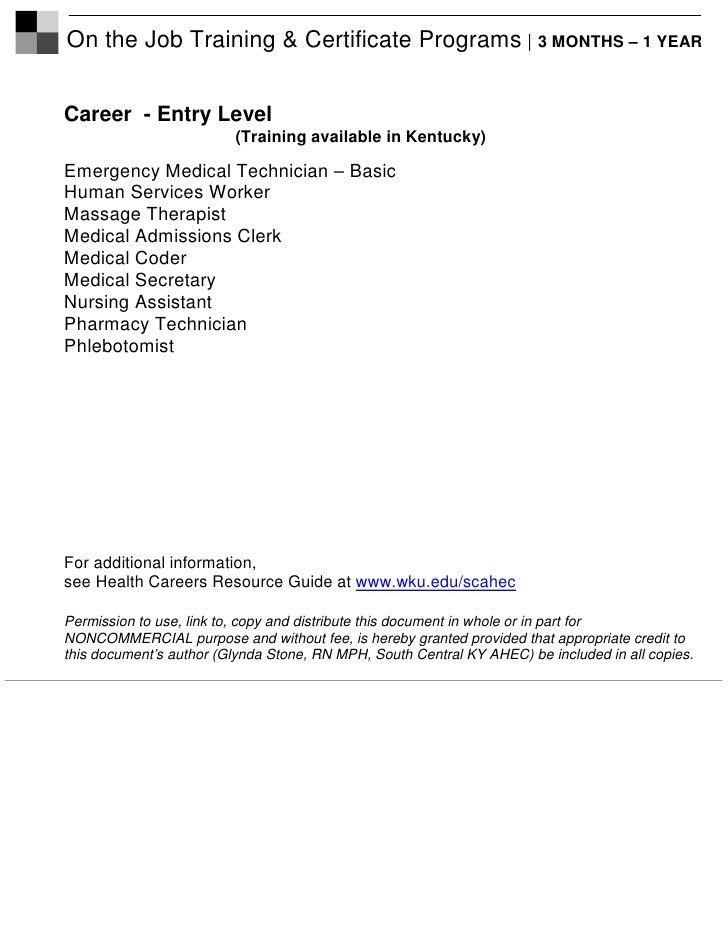 Health Career Job Descriptions