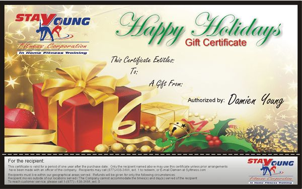 Personal Trainer and Nutritionist Gift Certificates