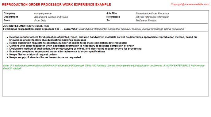 Reproduction Order Processor Job Title Docs