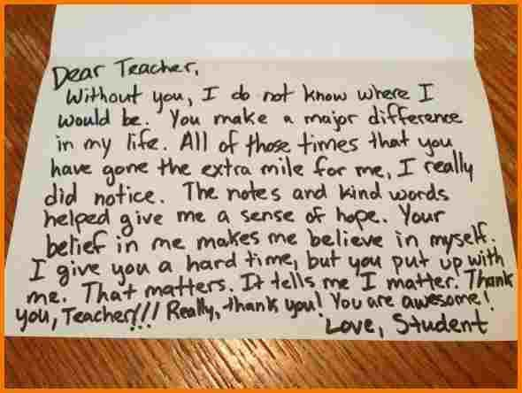 Thank you letters to teachers | Authorization Letter Pdf