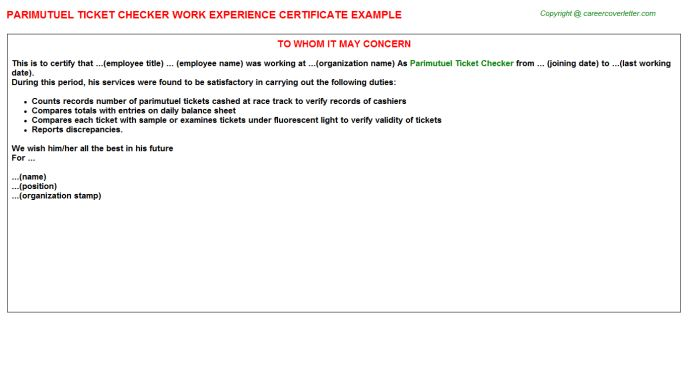 Parimutuel Ticket Checker Work Experience Certificate