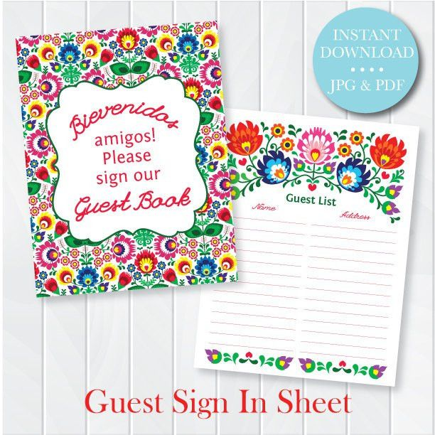 Fiesta Guest Sign In Sheet - Printable PDF - Wedding Shower Sign ...