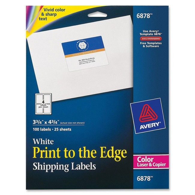 """Avery 6878 Print-to-the-edge Laser Printing Labels 3.75"""" Width x ..."""