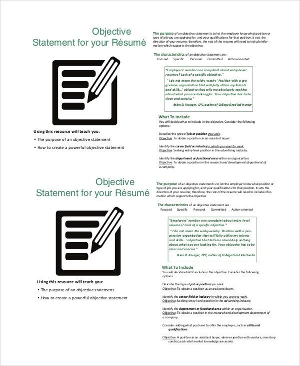 Sample Good Resume Objective - 8+ Examples in PDF, Word