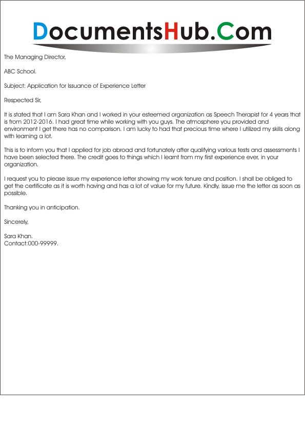 Application for Issuance of Experience Letter