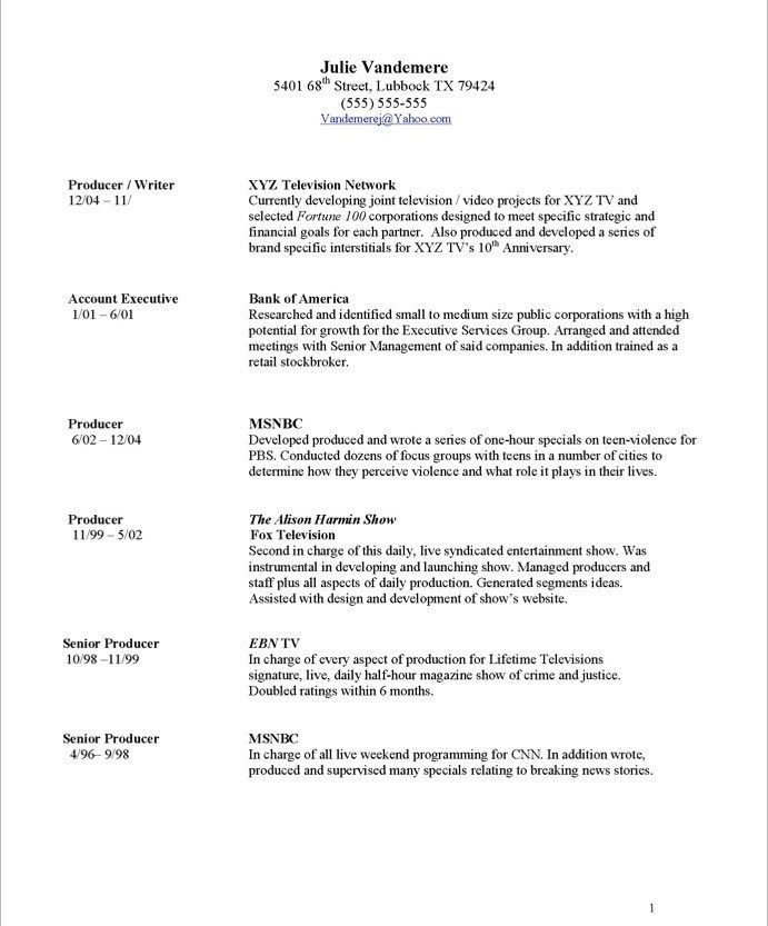 Video Production Resume Cover Letter - video producer resume