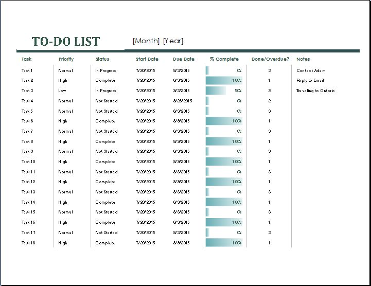 MS Excel Monthly Task List Template | Word Document Templates
