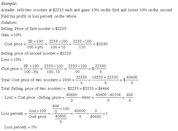 Gain or Loss Percent Word Problems - Grade 8 - Mathematics ...