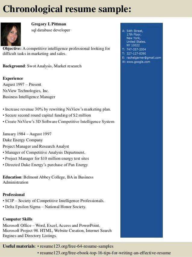 sample resume for database developer