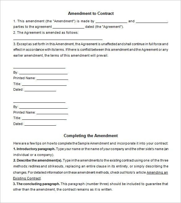 3+ Contract Amendment Templates - Free Word, PDF Documents ...