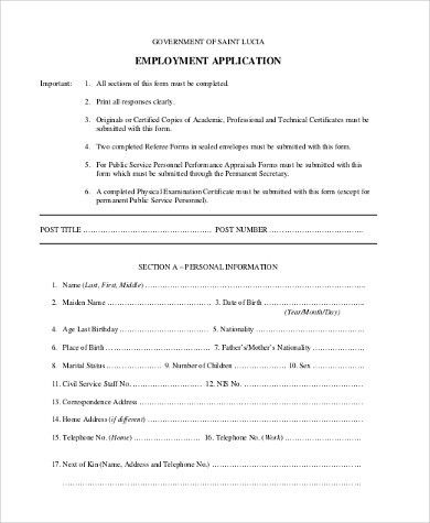 Generic Employment Application Form Samples - 8+ Free Documents in ...
