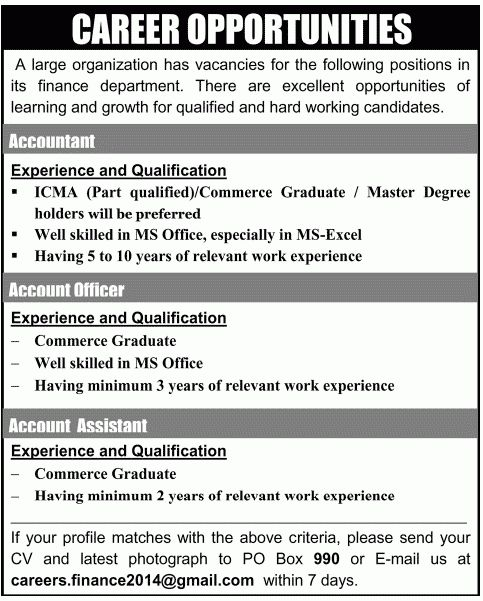 Account Assistant Job, Finance Department Job, Accountant, Account ...
