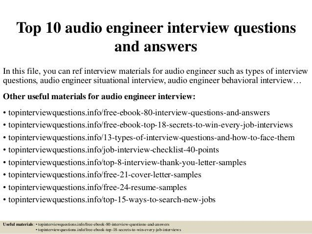 audio engineer resumes
