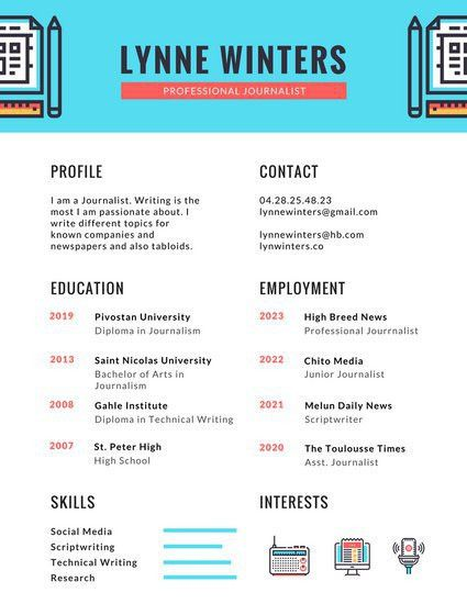 Blue Illustrations Infographic Resume - Templates by Canva