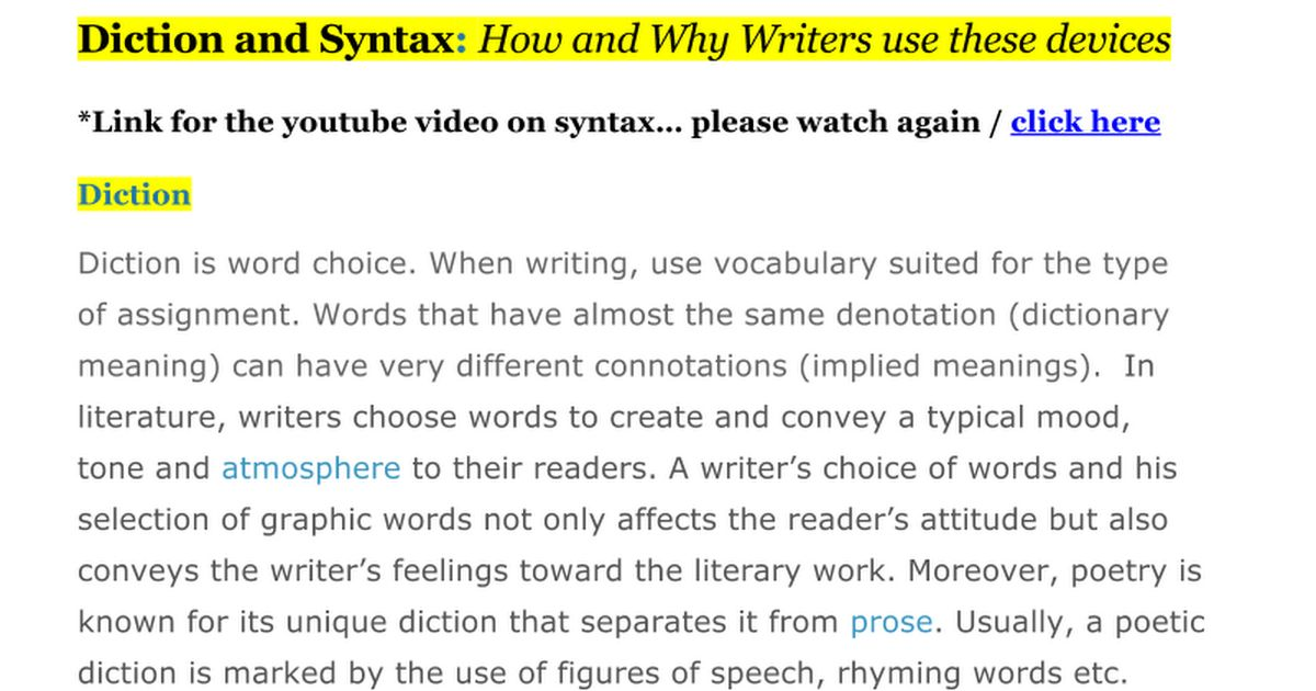 Diction and Syntax - Google Docs