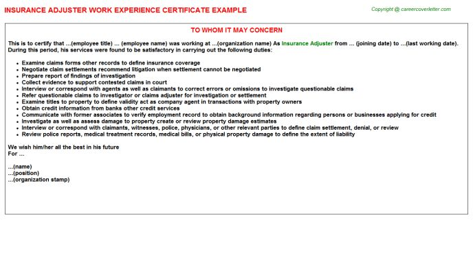 Insurance Adjuster Work Experience Certificate