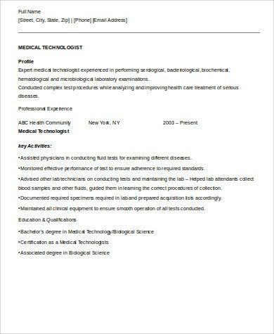 Medical Resume Format Sample   8+ Examples In Word, PDF